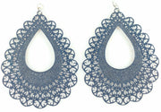 Lace Teardrop Earrings (Dangles) - navy blue