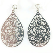 Paisley Teardrop Earrings (Dangles) - silver
