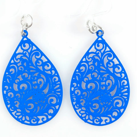 Paisley Teardrop Earrings (Dangles) - blue