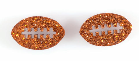 Football Earrings (Studs) - orange glitter