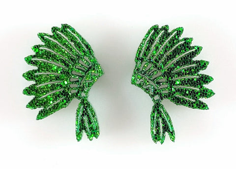 Indian Earrings (Studs) - green