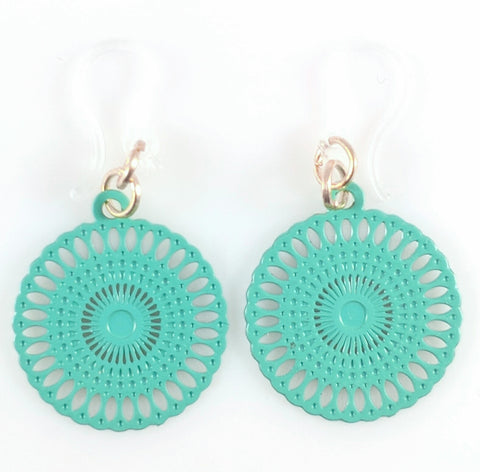 Doily Earrings (Dangles) - turquoise
