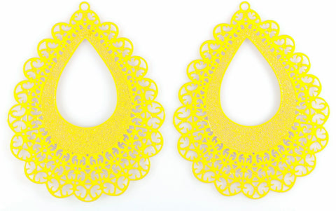 Lace Teardrop Earrings (Dangles) - yellow