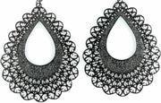 Lace Teardrop Earrings (Dangles) - black