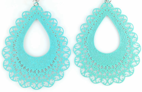 Lace Teardrop Earrings (Dangles) - turquoise
