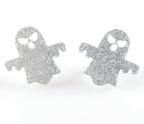 Ghost Earrings (Studs) - silver glitter
