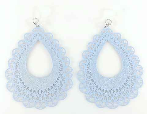 Lace Teardrop Earrings (Dangles) - blue grey