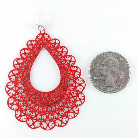 Lace Teardrop Earrings (Dangles) - size comparison quarter