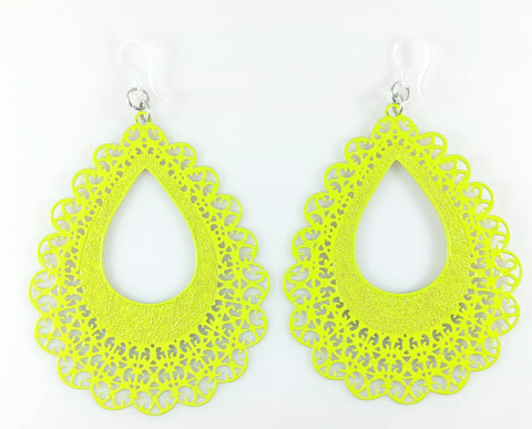 Lace Teardrop Earrings (Dangles) - lime green