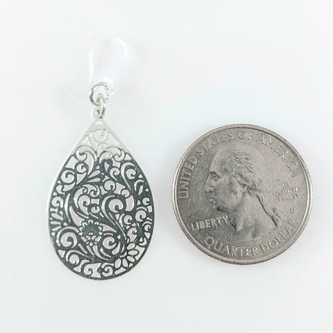 Paisley Teardrop Earrings (Dangles) - size comparison quarter