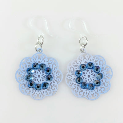 Decorative Doily Earrings (Dangles) - blue