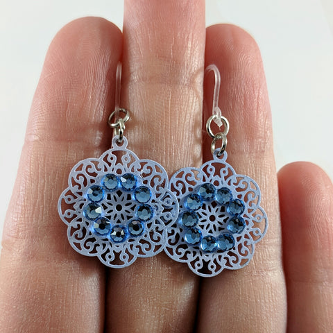 Decorative Doily Earrings (Dangles) - size comparison hand