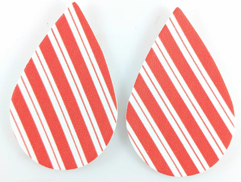 Candy Cane Earrings (Teardrop Dangles) - red and white