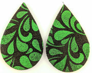 Christmas Foliage Teardrop Earrings (Teardrop Dangles) - green and black