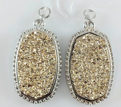 Faux Druzy Earrings (Dangles) - gold on silver