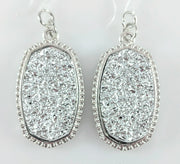 Faux Druzy Earrings (Dangles) - silver on silver
