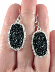 Faux Druzy Earrings (Dangles) - black on silver
