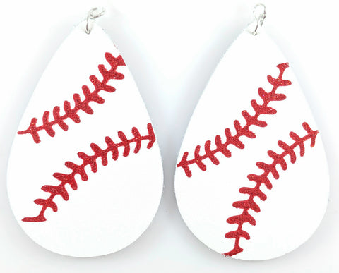 Baseball Stitch Earrings (Teardrop Dangles) - white with red stitching