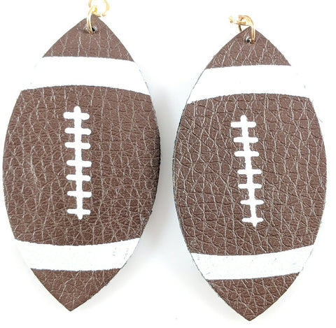 Football Teardrop Earrings (Teardrop Dangles) - brown and white