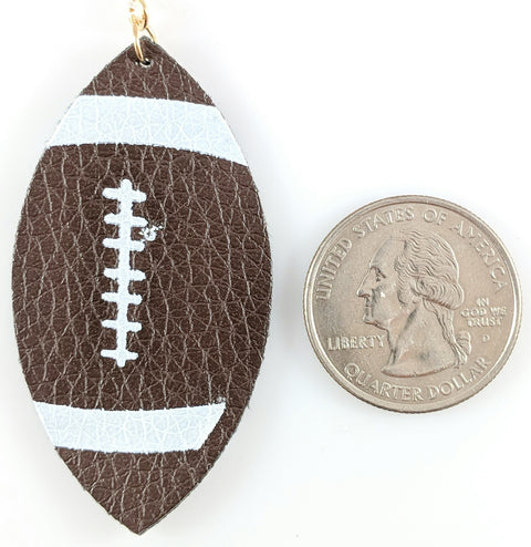Football Teardrop Earrings (Teardrop Dangles) - size comparison quarter