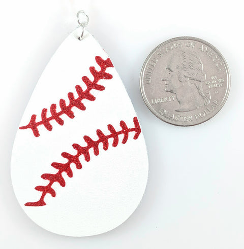 Baseball Stitch Earrings (Teardrop Dangles) - size comparison quarter