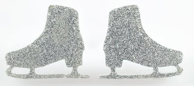 Ice Skates Earrings (Studs) - silver glitter