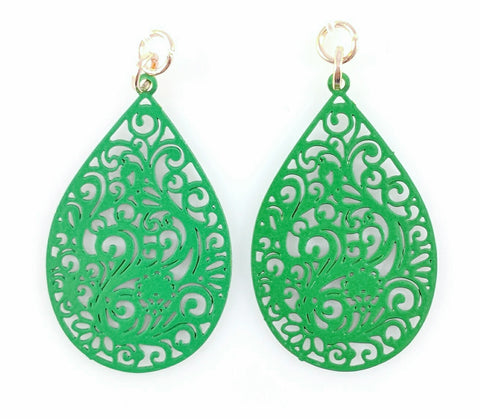 Paisley Teardrop Earrings (Dangles) - green