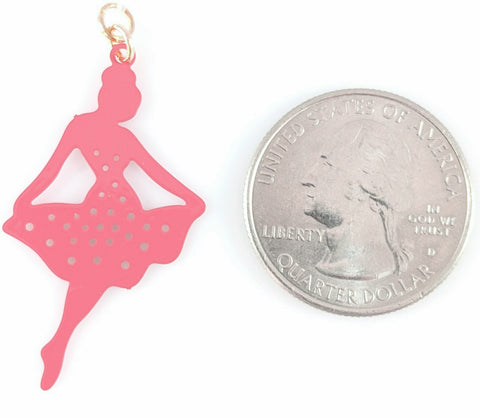 Ballerina Earrings (Dangles) - size comparison quarter