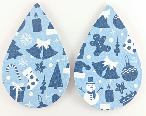 Blue Christmas Earrings (Teardrop Dangles) - various shades of blue
