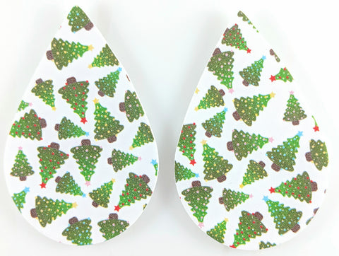 Christmas Tree Teardrop Earrings (Teardrop Dangles) - green and white