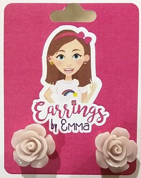 Large Shiny Rose Earrings (Studs) - size comparison on earring card