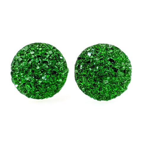 Large Faux Druzy Earrings (Studs) - green