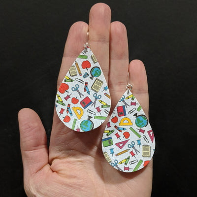Education Earrings (Teardrop Dangles) - multicolored