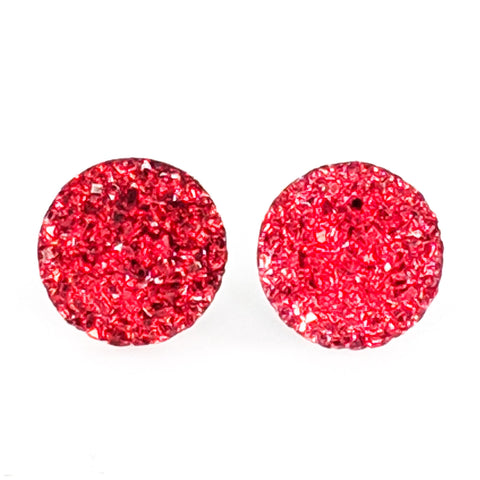 Large Faux Druzy Earrings (Studs) - red