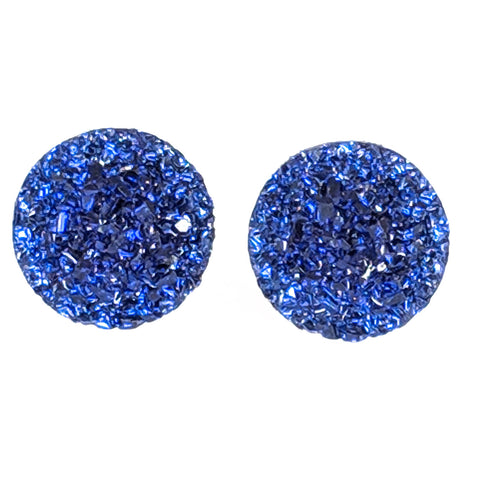 Large Faux Druzy Earrings (Studs) - dark blue