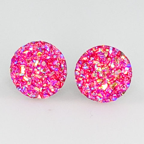 Large Faux Druzy Earrings (Studs) - pink