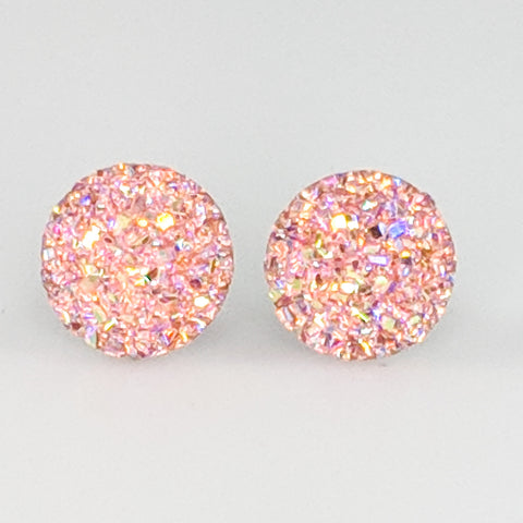 Large Faux Druzy Earrings (Studs) - light pink