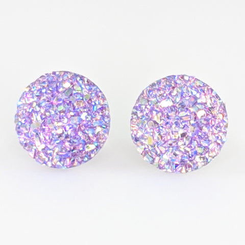Large Faux Druzy Earrings (Studs) - light purple