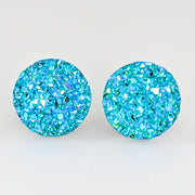 Large Faux Druzy Earrings (Studs) - aqua blue