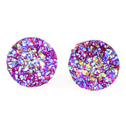 Large Faux Druzy Earrings (Studs) - magenta