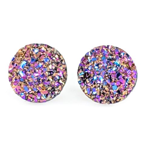Large Faux Druzy Earrings (Studs) - gold pink