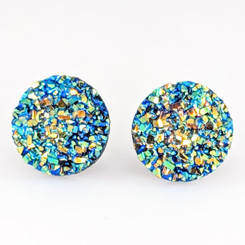 Large Faux Druzy Earrings (Studs) - blue gold