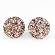 Large Faux Druzy Earrings (Studs) - rosegold