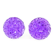 Large Faux Druzy Earrings (Studs) - purple