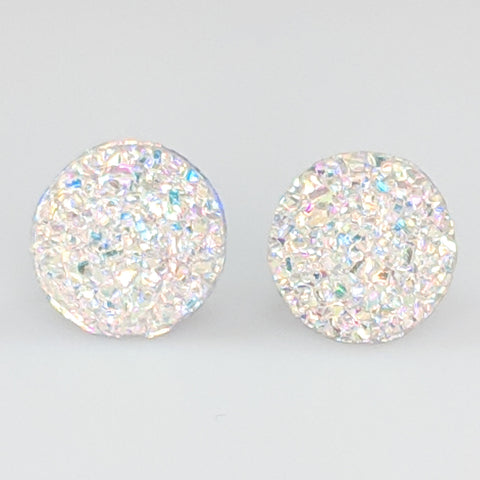 Large Faux Druzy Earrings (Studs) - white