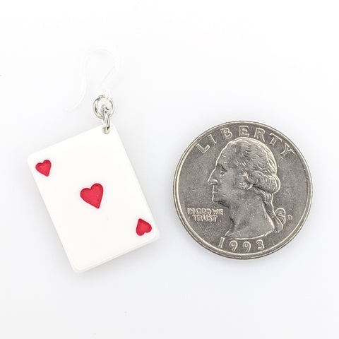 Playing Card Earrings (Dangles) - size comparison quarter