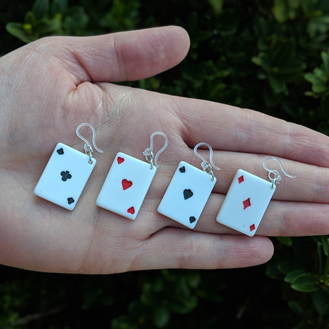 Playing Card Earrings (Dangles) - size comparison hand
