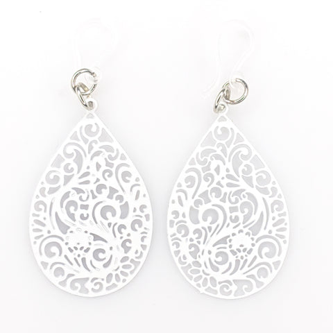 Paisley Teardrop Earrings (Dangles)- white