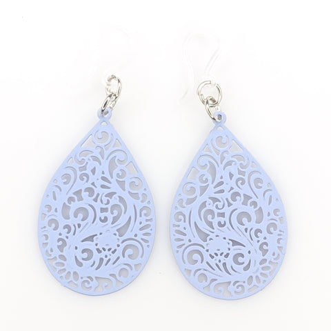 Paisley Teardrop Earrings (Dangles) - light blue