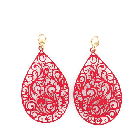 Paisley Teardrop Earrings (Dangles) - red